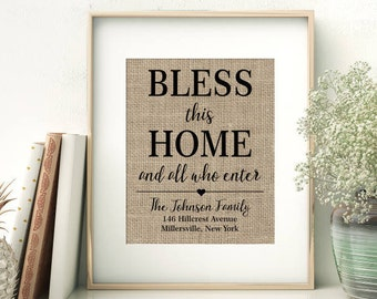 Bless This Home And All Who Enter | Personalized Burlap Print | Housewarming Gift | House Warming Gift | New Home Closing Gift
