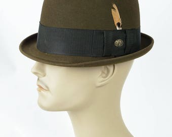 1960s Vintage Trilby Rat Pack Fedora Brown Fur Felt in Original Hat Box Champs Sz 7 1/8