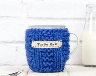Mug and Cosy, Knitted Mug Cosy, Personalised Mug Cozy, Friend Birthday Gift, Tea Lover Gift, Drink Warmer, Cup Warmer, Gift for Her, New Mum