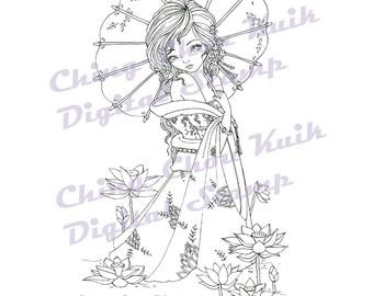 Lotus In June - Digital Stamp Instant Download /Japanese Umbrella Flower Girl Lady Fantasy Art by Ching-Chou Kuik