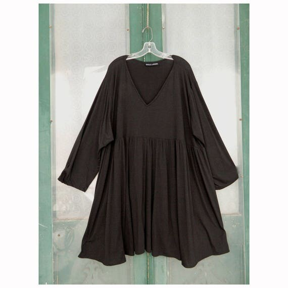 Skullz London Lagenlook Long-Sleeve V-Neck Tunic Dress -O/S- Black Jersey