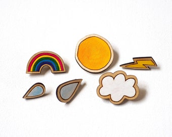 Weather Brooch Set, Hand Painted Wooden Brooches, Laser Cut, Rainbow, Cloud, Sun, Raindrops and Lightening, RockCakes, Brighton