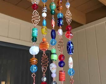 Glass Beaded Wind Chime with Copper and Bells on Mesquite