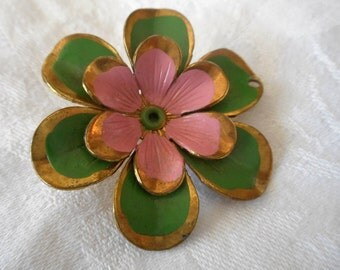 Large VINTAGE Painted Metal Flower BUTTON
