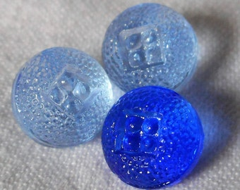 Set of 3 VINTAGE Small Texture Blue Glass Baby Doll Size BUTTONS