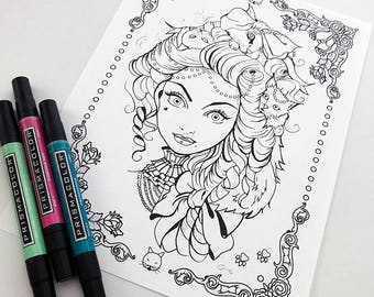 Cat Lady Download Coloring Page Pocket Full of Posiez