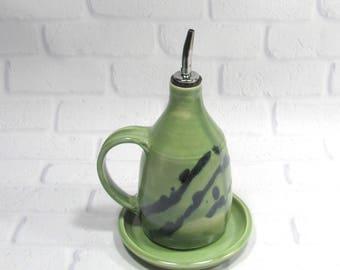 olive oil dispenser - Olive oil bottle - Olive oil cruet - ceramic oil bottle - vinegar dispenser - olive oil pourer
