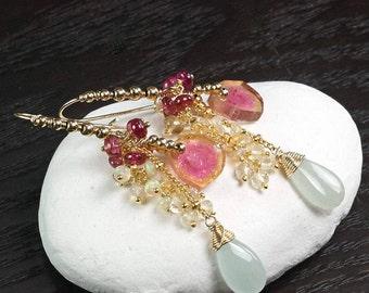 Watermelon Tourmaline earrings, Rubellite Tourmaline, Lemon Quartz, Ethiopian Opal, Aquamarine 14k Gold Filled hooks ... ATTWELL Earrings