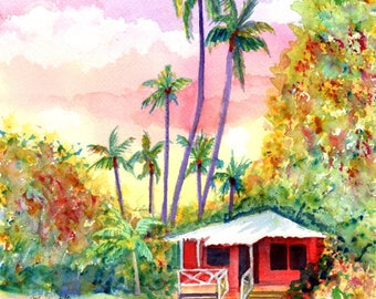Red Kauai Cottage Original Watercolor Painting from Hawaii Hawaiian Paintings Whimsical Houses Marionette Taboniar Plantation Style House