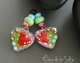 Handmade torch fired enameled components |  earring pair  | earrings  | enameled copper   |  made by Silke Buechler