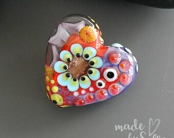 Handmade lampwork bead focal   |  Heart  |  SRA  |  artisan glass |  Silke Buechler