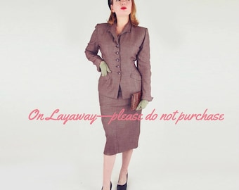 ON LAYAWAY 40s Brown Check Fine Wool Skirt Suit by Kolmer M L