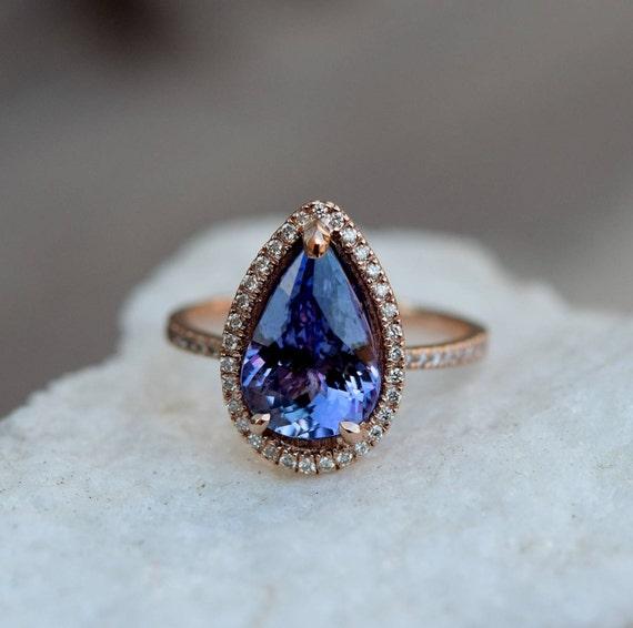 Tanzanite Ring. Rose Gold Engagement Ring Lavender Tanzanite pear cut engagement ring 14k rose gold ring by Eidelprecious.