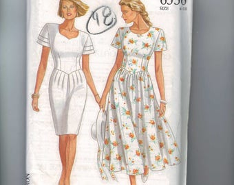 1990s Sewing Pattern New Look 6536 Misses Slim Full Skirt Pointed Waist Dress Size 6 8 10 12 14 16 18 Bust 32 34 36 38 40 42 44 UNCUT