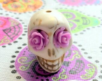 Gigantic Ivory Howlite Skull Bead or Pendant  with Purple Rose Eyes