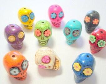 Random Rainbow Colorful Howlite Sugar Skull Beads-Variety Lot of Ten 18mm Beads