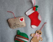 Embroidered Felt Christmas Ornaments OOAK Hand Stitched Santa Letter Stocking Gingerbread Man Heirloom Quality Tree Decorations Traditional