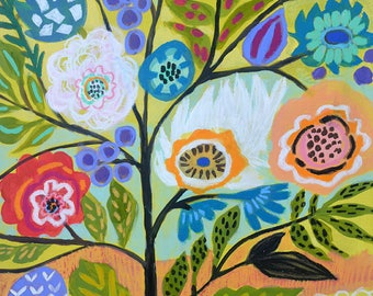 Flower Tree 2 Folk Floral Painting on 18 x 24 Paper by Karen Fields