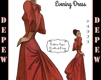 Vintage Sewing Pattern 1940s Cocktail or Evening Gown in Any Size - PLUS Size Included - Depew 4923 -INSTANT DOWNLOAD-