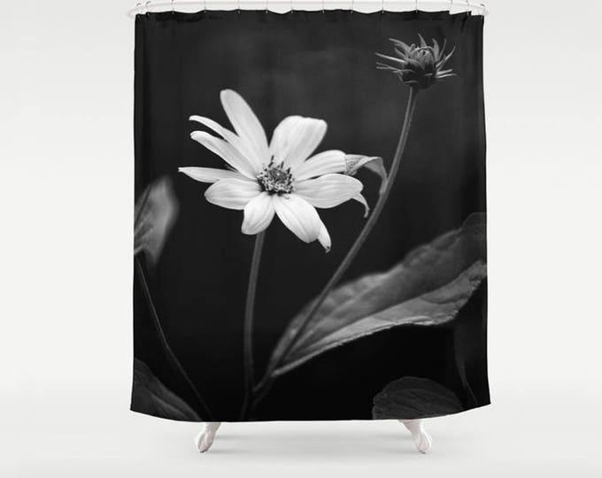 Big Black and White Moody Flower Photo Art Fabric Shower Curtain