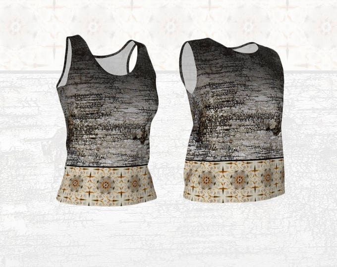 Stretchy Women's Tank Top in Distressed Fading Birch Bark and Abstract Birch Tree Mandala Print, Loose or Fitted Style