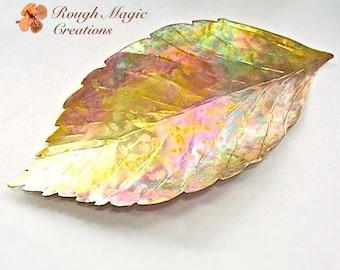 Beech Leaf Decorative Dish Rustic Copper Autumn Leaf Unique Artisan Fall Leaves Metal