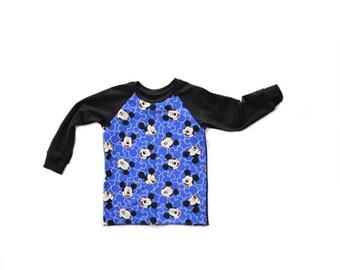 Mickey Raglan T Shirt - Long Sleeve or Short Sleeve - Blue Micke Mouse Disney Shirt