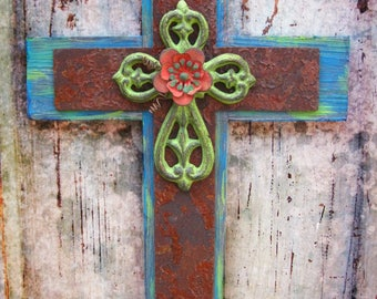 Cross Wall Hanging, Industrial Wall Decor Cross, Distressed Cross, Hanging Wall Cross, Rusty, Wood Cross, Wall Cross Decor, Turquoise Cross