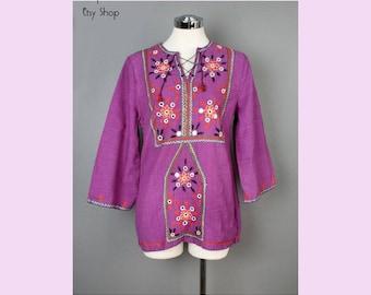 1960's Mirrored India Bohemian Hippie Style Tunic Top Mini Dress