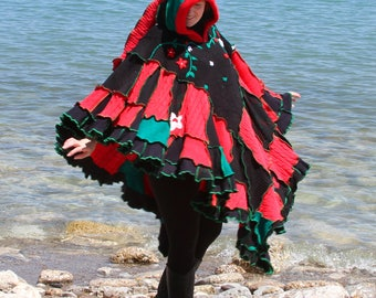 Poinsettia  frankensweater poncho capelet upcycled hoodie gypsy coat