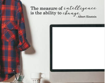 Wall Quotes Measure Of Intelligence Einstein Quotes Office Professional Vinyl Wall Decal Motivational Home Office Work Desk