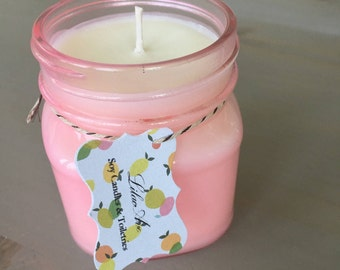 Maple Sweet Oatmeal Scented Soy Candle 8oz Pink Mason Jar