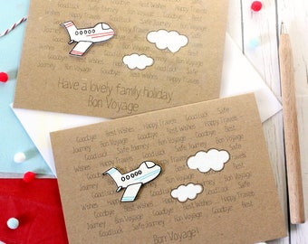 Personalised Bon Voyage Card Handmade Bon Voyage Card Goodbye Card Leaving Card Aeroplane Card Airplane Card Gap Year Card Adventure Card
