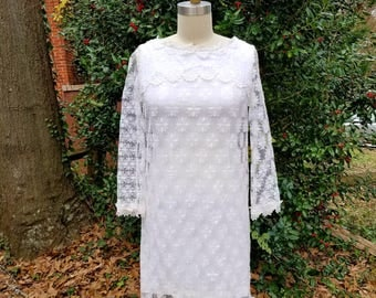 1960s Vintage White Daisy Mini Dress Sheer Long Sleeves Daisy Chain Trim White Sheer Lace Wedding Dress Size Extra Small