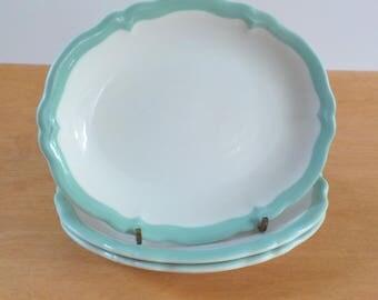 Vintage Restaurant Ware Oval Plates • Shenango China Butter Bread Plates • Vintage Small Aqua Trim Oval Side Plate