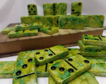 Dominoes 'Key Lime Dream' Hand Painted 28 Piece Standard Size Domino Set, Music Theme Storage Book Box instructions, alcohol inks,