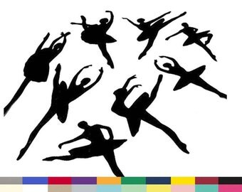 Ballerina Dancing Silhouettes Embellishments Die Cuts Paper Cuttings Craft Supply Set of 8 Choose from 20 Colors