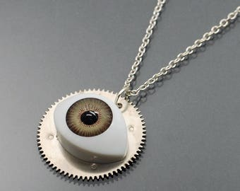 Creepy Doll Eye Necklace- Steampunk Necklace, Upcycled Silver Clock Gear Steampunk Jewelry, Industrial Jewelry, Urban Contemporary Jewelry