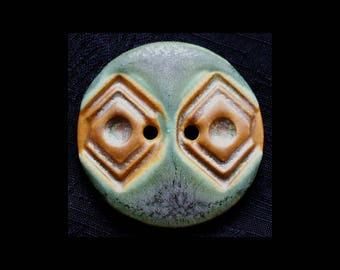 Handmade Ceramic Buttons: Stone Bluegreens and Caramel