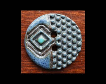 Handmade Ceramic Button: Beautiful Blue Jean Blue and Turquoise