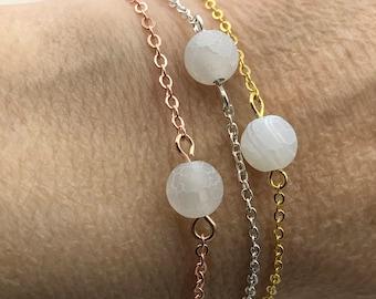 white agate bracelet, Rose gold bracelet, Rose gold jewelry, silver bracelet, gold bracelet, agate bracelet, bridal jewelry