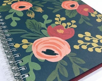 Ruled Journal - Flowers on Dark Teal