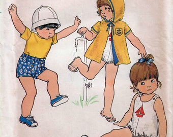 1970s Butterick 6646 Vintage Sewing Pattern Infant's Playsuit, Cover-Up, and Shorts Size 1/2