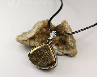 Golden autumn - silver pendant with golden agate druzy, ONE OF A KIND