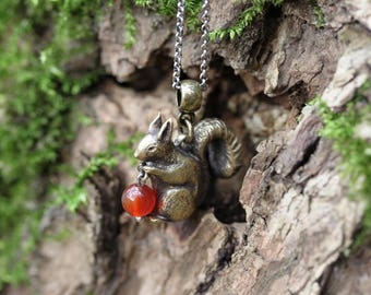 George the squirrel - cute, carved pendant with carnelian, made of brass and silver