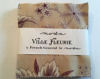 "Ville Fleurie By French General for Moda Fabrics Charm Pack - 42 5"" Squares"