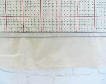 Vintage 80s Queen Flat Bed Sheet Plaid Graphic Red Gray Beige Masculine Preppy Nautical Fabric Bedding