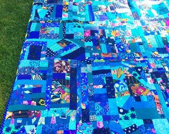 Improv Patchwork Quilt in Blue