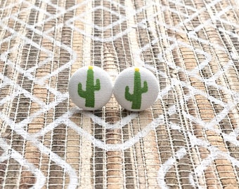 Fabric Button Cactus Earrings, Cactus, Cactus Jewelry, Southwestern, Covered Jewelry, Earrings, Stud Earrings