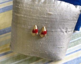 GOLD RED POST earrings vintage